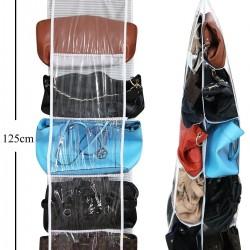 10 Bölmeli Dolap İçi Çanta Organizeri - Siyah Çizgili
