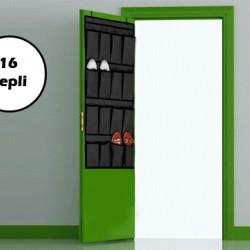 16 Cepli Kapı Arkası Çok Amaçlı Organizer - Siyah