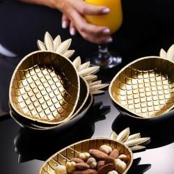 Ananas Figürlü Çerezlik - Gold  Sunumluk 3 Lü Set