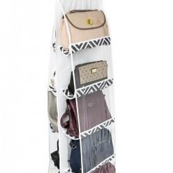 Dolap İçi Çanta Askısı 10 Bölmeli - Mozaik Siyah Desen