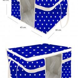 Pencereli Yastık Ve Yorgan Hurcu Beyaz Çizgili Lacivert  Yıldızlı - 45 Cm X 40 Cm X 30 Cm