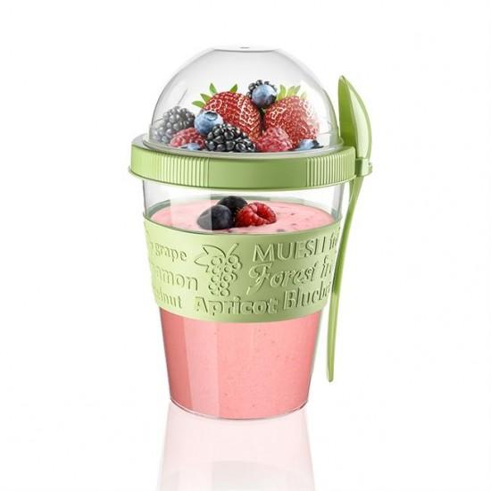 Meyve Hazneli - Kaşıklı Portatif Yoğurt Kabı